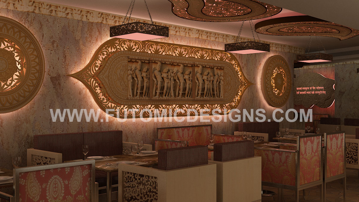 Yummy india theme restaurant by futomic delhi ncr india for 3d mural art in india